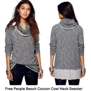FP free People beach long cowl neck thin sweater